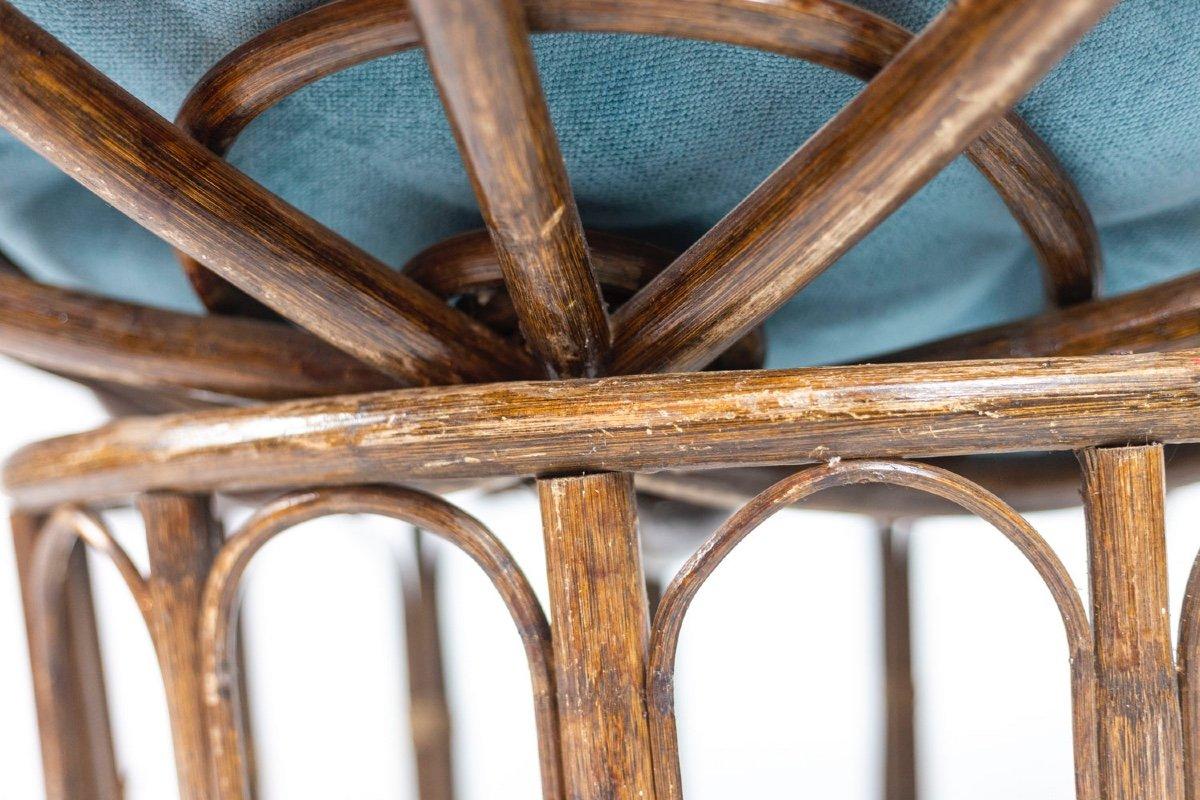 Paire de fauteuils « Papasan » en rotin et tissu matelassé, années 1970, LS43301351-photo-2