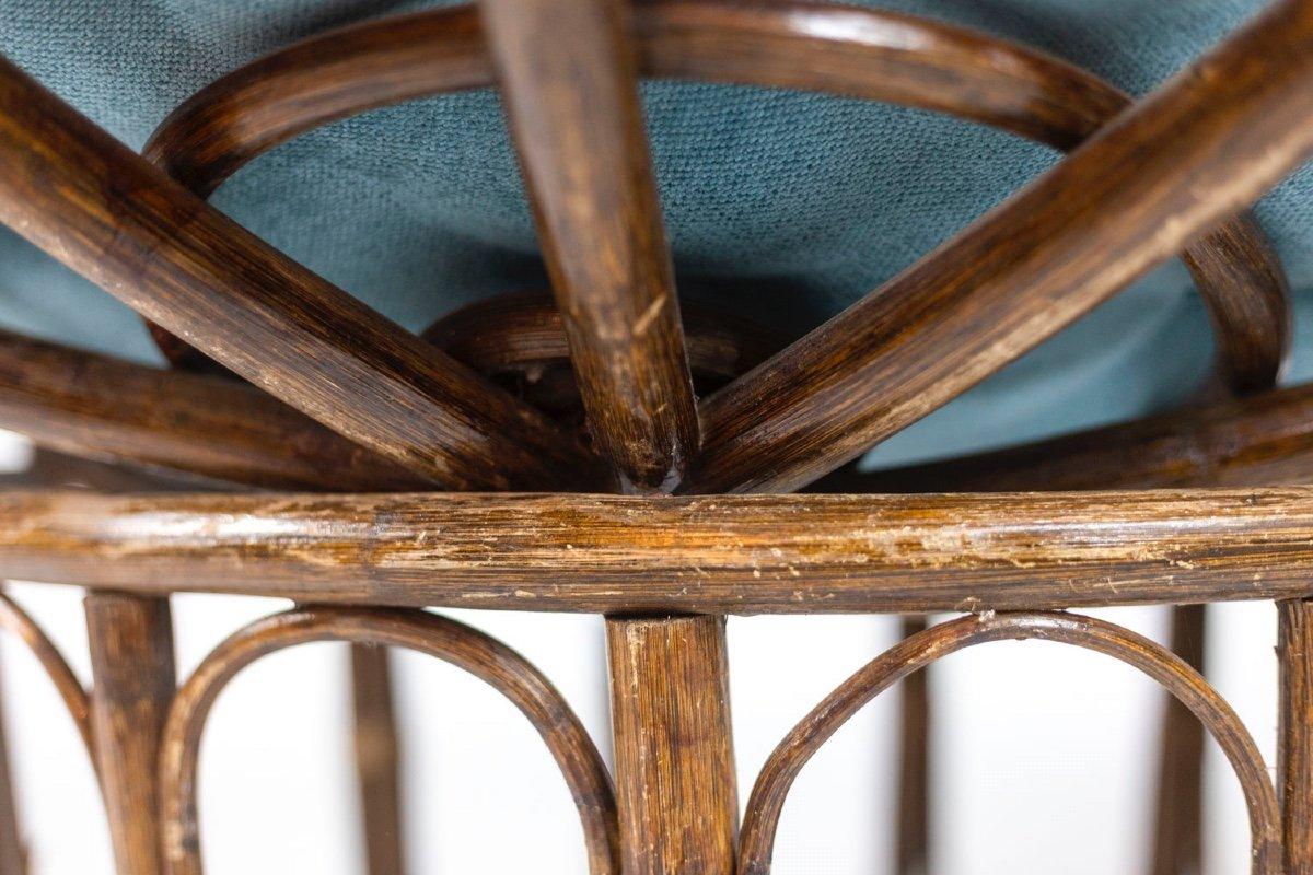 Paire de fauteuils « Papasan » en rotin et tissu matelassé, années 1970, LS43301351-photo-3