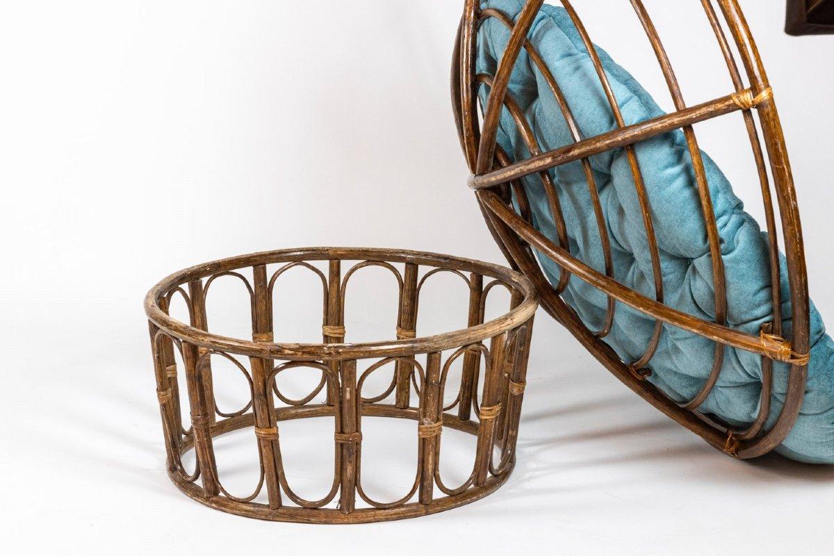 Paire de fauteuils « Papasan » en rotin et tissu matelassé, années 1970, LS43301351-photo-5