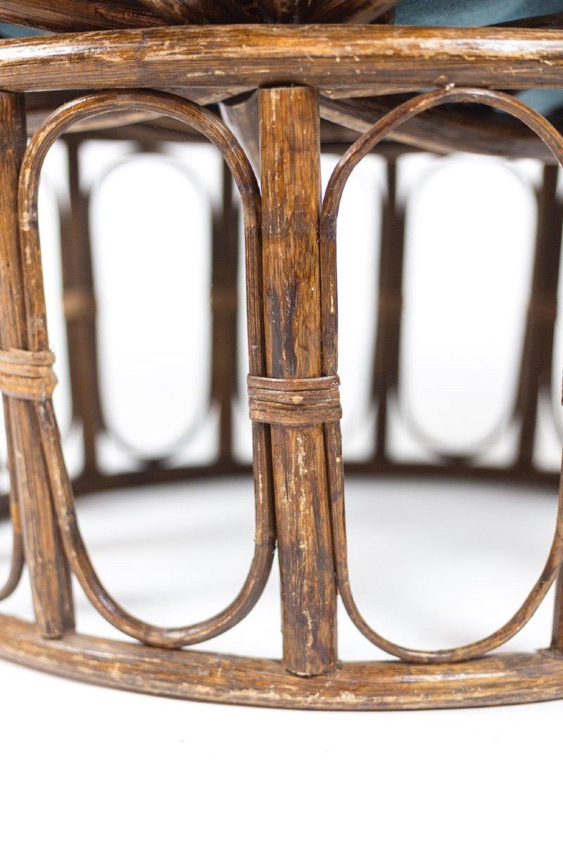 Paire de fauteuils « Papasan » en rotin et tissu matelassé, années 1970, LS43301351-photo-7