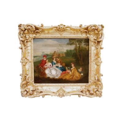Nicolas Lancret, Scène galante champêtre, huile sur toile, XVIIIème siècle - LS2178