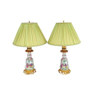 Pair Of Small Bayeux Porcelain Lamps Inspired By Canton Porcelain, End Of The 19th Century - Ls2708661