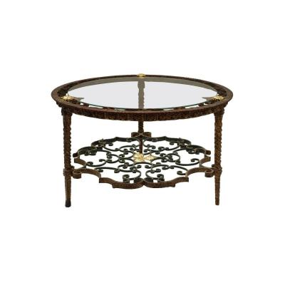 Wrought Iron Round Coffee Table, Circa 1950 - Ls2413
