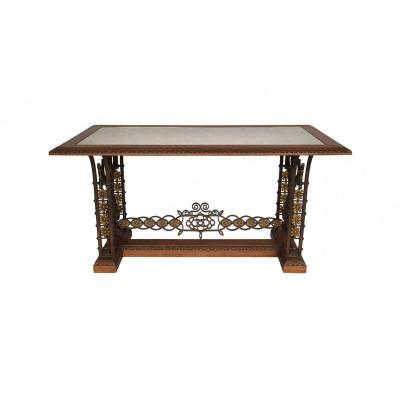 Table De Milieu En Fer Forgé. Plateau En Miroir Oxydé, Circa 1950 - LS24671551