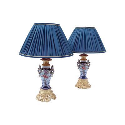 Paire de lampes en porcelaine de Valentine à prises lézards, circa 1880 - LS3458961