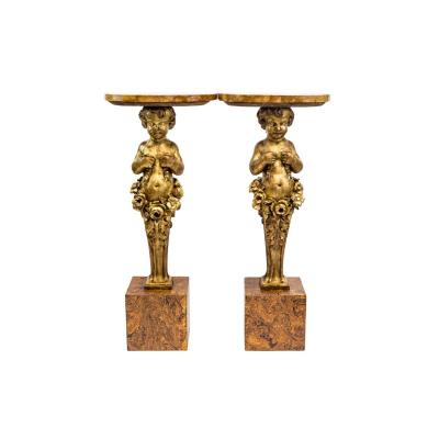 Pair Of Carved And Gilt Wood Putti Consols, Late 19th Century - Ls35301251