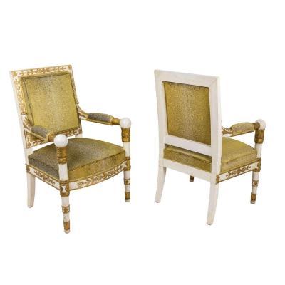 Paire de Fauteuils Style Empire Blanc et Or, Années 1950 - LS35072251