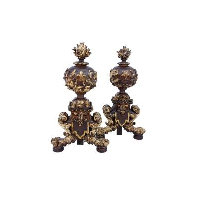 Paire De Chenets De Style Renaissance, Fin XIXème Siècle