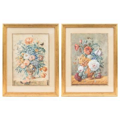 Paire De Gouaches Aux Bouquets De Fleurs, Fin XIXème Siècle