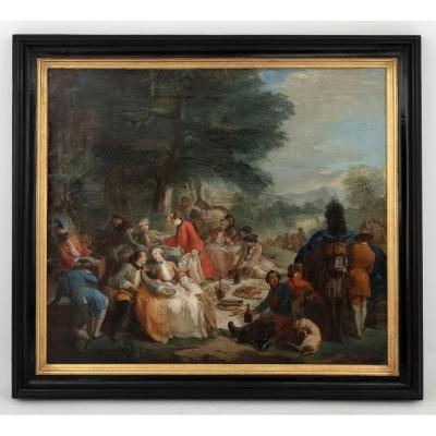 Carle Van Loo, La Halte De Chasse (1737), Huile Sur Toile, XIXème Siècle