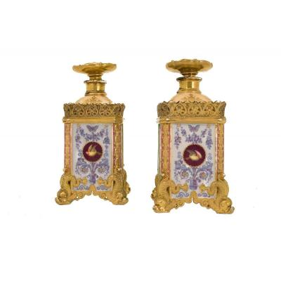 Jacob Petit, Pair Of Flasks With Canted Corners In Enameled Porcelain, 1840 - Ls3852251
