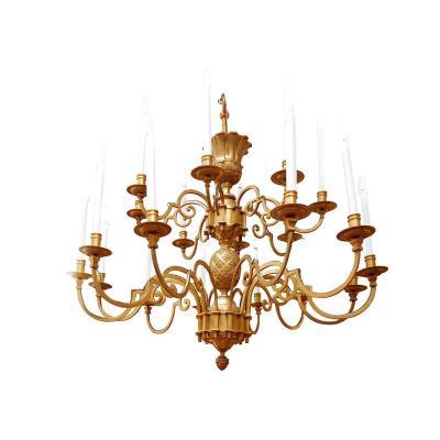 Maison Delisle, Grand Lustre En Bronze Doré Et à Décor D'œuf Stylisé, Travail Des Années 70