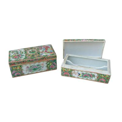Pair Of Canton Porcelain Boxes, 1900 Period