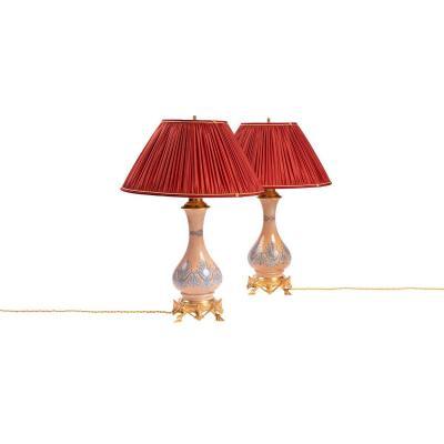 Paire De Lampes De Style Néogothique En Opaline Et Bronze Doré, Vers 1890