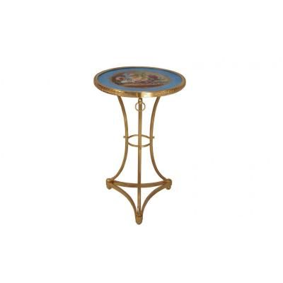 Directoire Style Athenienne Stand In Gilt Bronze And Porcelain, 1900 Period