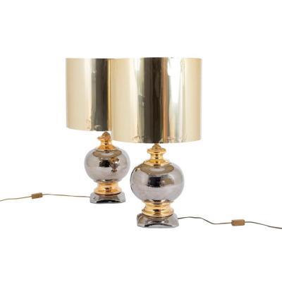 Paire de lampes boule en céramique au lustre argent et or, vers 1960