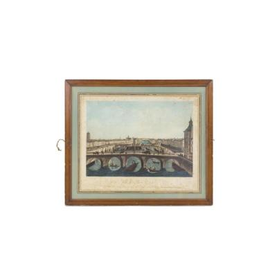 Coqueret, View Of Paris N°12, Colour Print, Early 19th Century