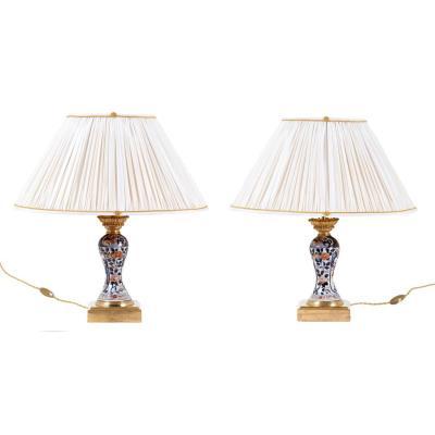 Paire de lampes en porcelaine à décor Imari, fin XIXème siècle