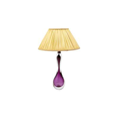 Val-Saint-Lambert, Lampe en cristal transparent et violet, années 1960