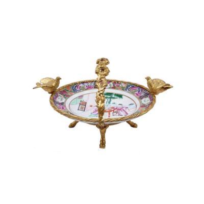 Assiette En Porcelaine De Canton Et Monture En Bronze Doré, Fin XIXe Siècle