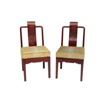 Paire De Chaises Style Chinois En Acajou, Vers 1900