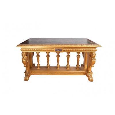 Table De Style Renaissance En Bois Doré Et Marbre, XIXème Siècle
