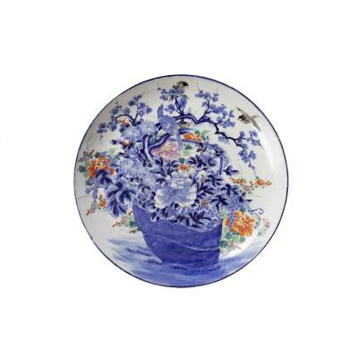 Grand Plat à Fleurs En Porcelaine Japonaise, XIXème Siècle
