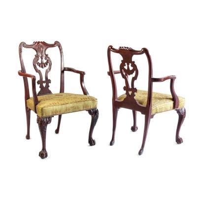 Paire De Fauteuils De Style Chippendale En Bois Laqué Rouge, Vers 1880 - LS3049B