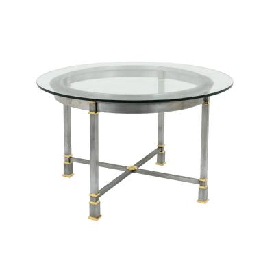 Table In Brushed And Gilt Metal, Glass Tray, 1970's