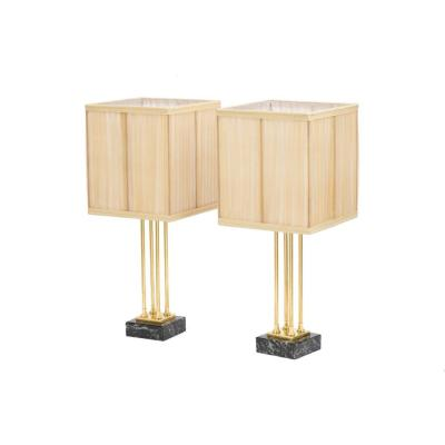 Pair Of Empire Style Lamps In Gilt Bronze And Marble, 1970's