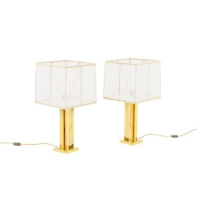 Pair Of Gilt Brass Lamps With A Geometrical Shaft, 1970's
