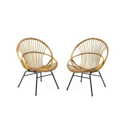 Pair Of Rattan And Metal Armchairs, Shell Shape, 1960's
