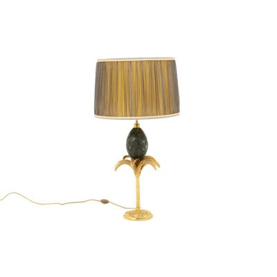 Maison Charles, Palm Tree Lamp With A Marble Egg, 1970's