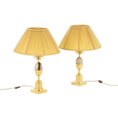 Maison Charles, Pair Of Onyx Egg Lamps With Gilt Brass, 1970's