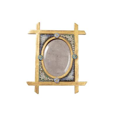 Small Table Mirror In Mosaic And Gilt Wood, 19th Century