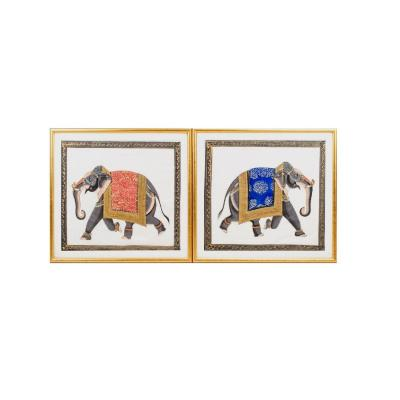 Deux éléphants, Technique Mixte Sur Papier, Années 1950