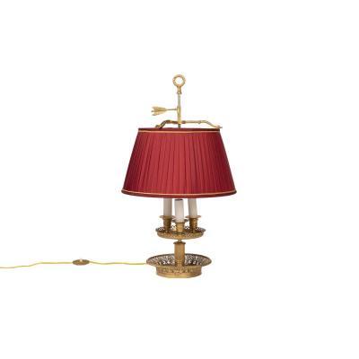 Restauration Style Bouillotte Lamp In Gilt Bronze, 1900 Period - Ls3054