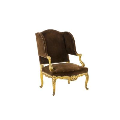 Louis XV Style Wing Chair In Gilt Wood, 1950's