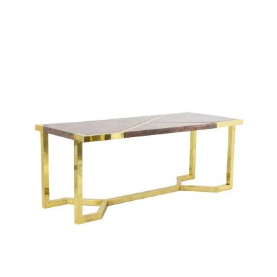 Table In Gilt Brass And Pink Granite, Italy, 1970's - Ls4124