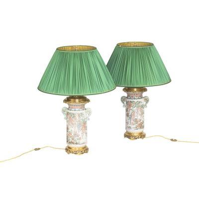 Paire De Grandes Lampes En Faïence De Satsuma, Vers 1880