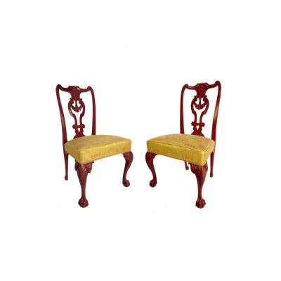Pair Of Chippendale Style Chairs In Red Lacquered Wood, Circa 1880 - Ls3049861