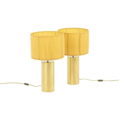 Pair Of Gilt And Chromed Metal Lamps, 1970s - Ls4057