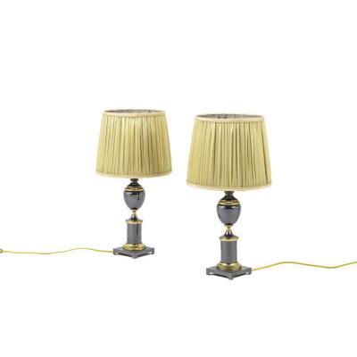 Paire De Lampes En Bronze Doré Et Gris Métallique, Années 1970 - Ls2779351