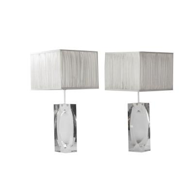 Paire De Lampes Rectangulaires En Lucite, Années 1970 - Ls2750831