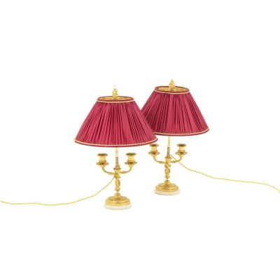 Pair Of Louis XVI Style Lamps In Gilt Bronze And Marble, Circa 1880 - Ls3672