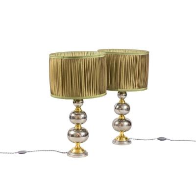 Pair Of Rosary Lamps In Chromed And Gilt Metal, 1970's - Ls3888