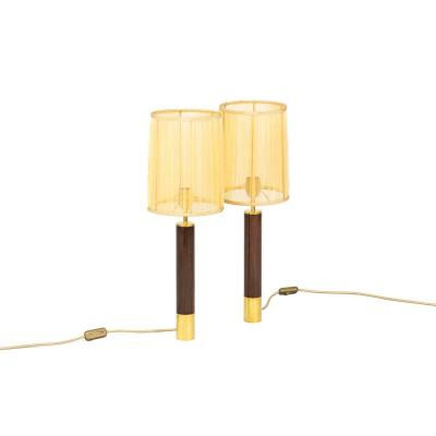 Sansta & Cole, Pair Of Lamps In Rosewood And Gilt Brass, 1980's - Ls4060