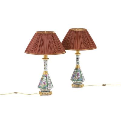 Pair Of Lamps In Canton Porcelain, Circa 1880 - Ls4077