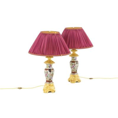 Pair Of Lamps In Valentine Porcelain And Gilt Bronze, Circa 1880 - Ls41221171
