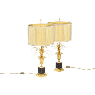 Maison Charles, Pair Of Reeds Lamps In Gilt Bronze, 1970's - Ls4172/4180